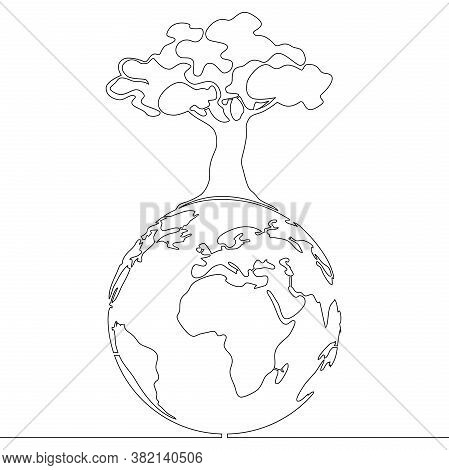 Continuous One Single Line Drawing Planet Earth And Tree Sustainable Development Goals Icon Vector I