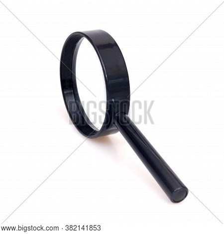 Black Magnifying Glass (magnifier) Isolated On White Background. Design Element With Clipping Path