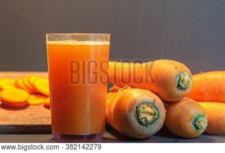 Carrot Juice (daucus Carota). Vegetable Used For Salads. The Carrot Is The Main Vegetable In Which T