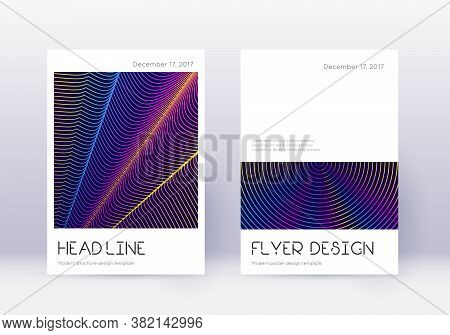 Minimal Cover Design Template Set. Rainbow Abstract Lines On Dark Blue Background. Divine Cover Desi