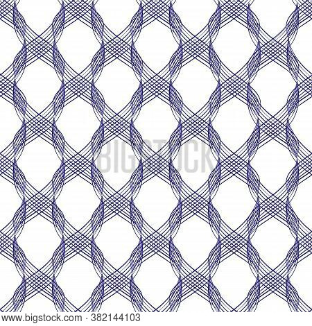 Vector Inky Blue Abstract Braid Effect Damask Weave Seamless Pattern Background. Cascading 3d Effect