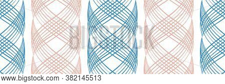 Vector Inky Blue And Pink Abstract Braid Effect Damask Weave Border. Banner With Curled Woven Lattic