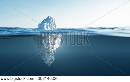 Tip of the iceberg. Half underwater. Also concepts of global warming and climate change. 3D illustration
