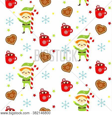 Christmas Seamless Pattern With Elf, Cookies And Mugs. Colorful New Year Background For Textile, Wra