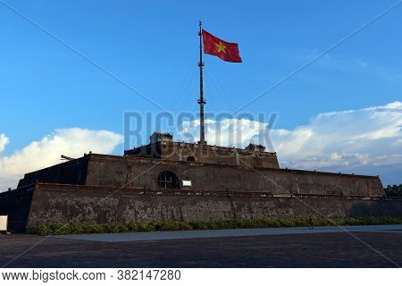 Hue, Vietnam, July 14, 2020: Large Flag Of Vietnam At The Hue Citadel. Vietnam