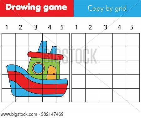 Copy Picture By Grid. Educational Game For Children And Kids. Draw Ship Boat