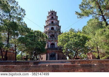 Hue, Vietnam, July 15, 2020: Chùa Thiên Mụ Pagoda Considered One Of The Main Symbols Of The City Of