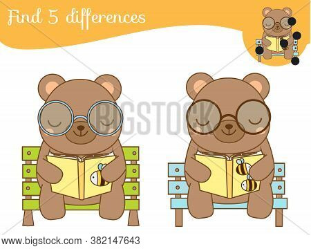 Find The Differences Educational Children Game. Kids Activity With Cartoon Reading Bear