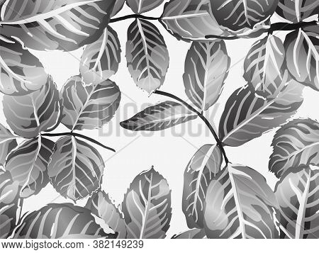 Romantic Botanical Vector Background. Repeated Spring Peony Wallpaper. Rose Leaves Seamless Pattern.
