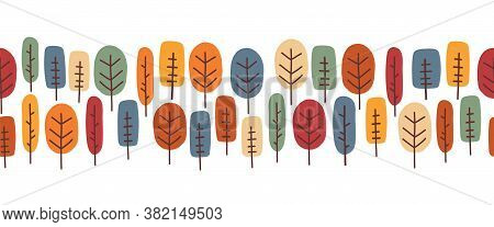 Autumn Trees Seamless Vector Border. Repeating Abstract Trees Horizontal Nature Pattern Various Colo