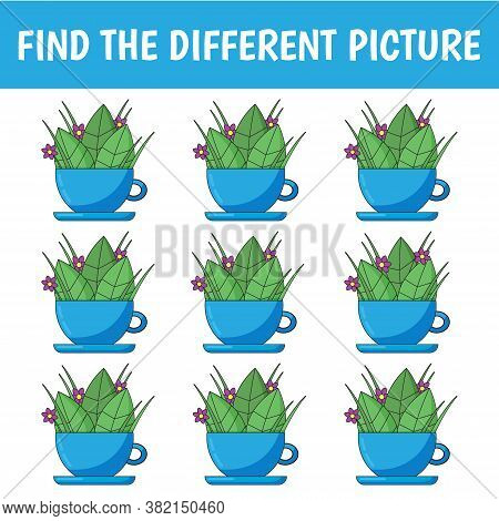 Find A Cup That's Different From The Others. Children's Game Of Mindfulness. Vector.