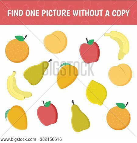 Find A Fruit Without A Pair. A Game For Children On Mindfulness. Vector Illustration.
