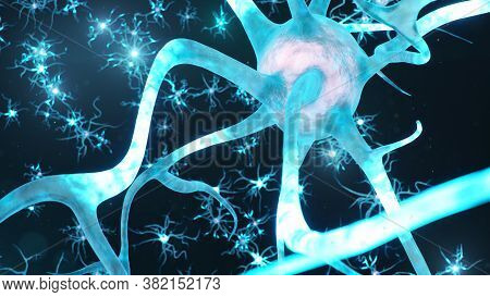 Abstract Neural Cells. Synapses And Neuronal Cells Send Electrical Chemical Signals. Transmission In