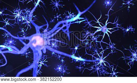 Artificial Intelligence Concept. Ai Neuron. Artificial Neural Network Technology Science. Neuron Of