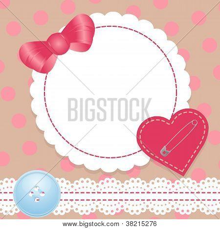 Geburtstagskarte mit Heartlace und Bogen. enthält ein graded Mesh.