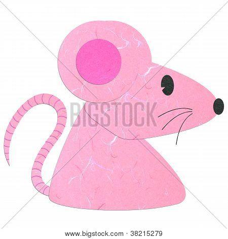 Rice Paper Cut Cute Pink Rat
