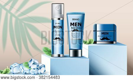 Composition Of Skin Care Oil, Body Lotion And Moisturizing Lotion For Men On Podium. Ice Cubes And M