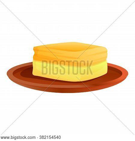 Greece Cheesecake Icon. Cartoon Of Greece Cheesecake Vector Icon For Web Design Isolated On White Ba