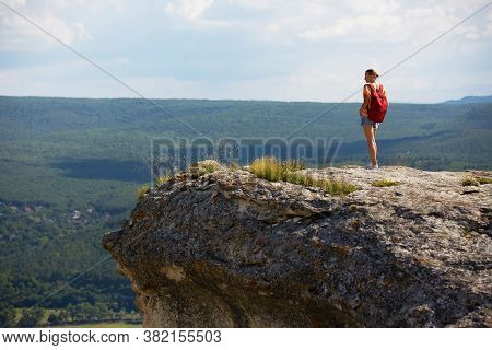 Time To Travel. Summer Holidays And Vacation Time. Breathtaking Mountains View. Lovely Woman Standin
