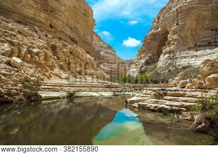 The canyon  is the most beautiful in the Negev desert. Israel. The ravine Ein Avdat is formed by the Qing River. The sky is reflected in the water. The walls of the gorge are corroded by caves.