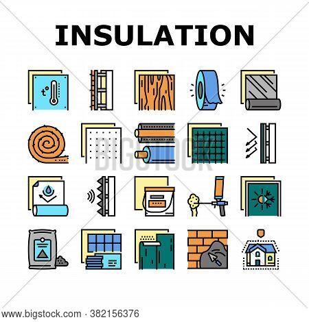 Insulation Building Collection Icons Set Vector. Insulation Roll Material And Wooden Plywood, Waterp