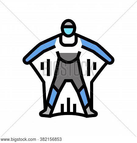 Wingsuit Active Extreme Sportsman Color Icon Vector. Wingsuit Active Extreme Sportsman Sign. Isolate