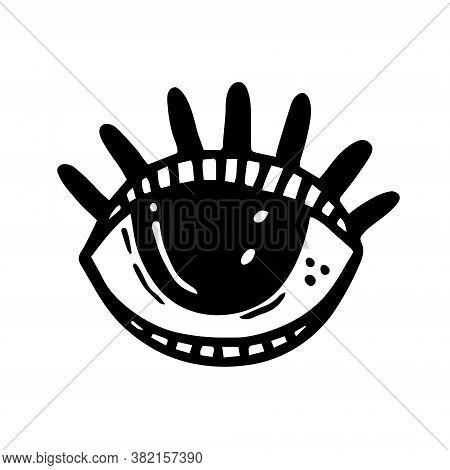 Eye With Eyelashes. Halloween Art, Design Element, Icon, Sticker. Holiday Ink Stamp, Silhouette. Mag