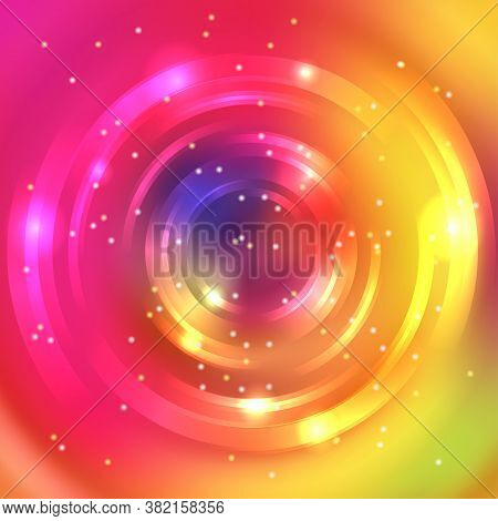 Abstract Background With Luminous Swirling Backdrop. Vector Infinite Round Tunnel Of Shining Flares.