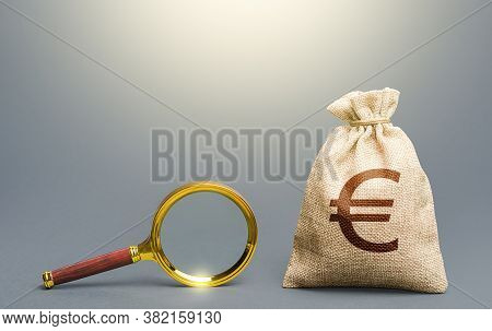 Euro Money Bag And Magnifying Glass. Financial Audit. Origin Of Capital And Legality Of Funds. Find