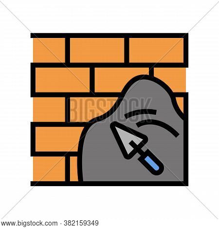 Cement On Brick Wall Color Icon Vector. Cement On Brick Wall Sign. Isolated Symbol Illustration
