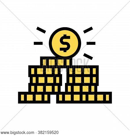 Coin Pile Color Icon Vector. Coin Pile Sign. Isolated Symbol Illustration