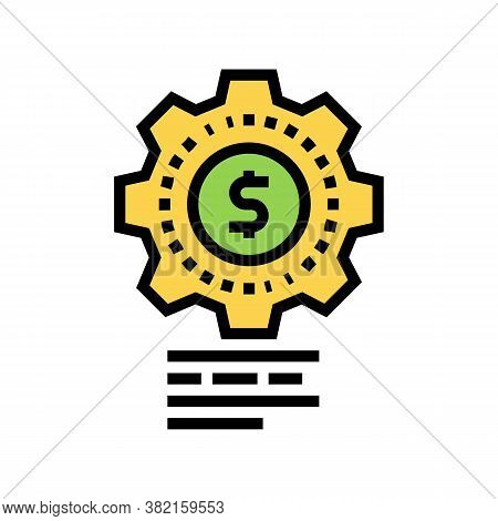 Money Working Mechanical Gear Color Icon Vector. Money Working Mechanical Gear Sign. Isolated Symbol
