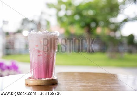 Beverage Of Juice For Summer Put On The Table. Pink Strawberry Milkshake. Strawberry Smoothie Or Mil