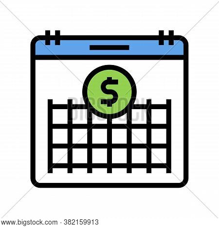 Finance Investment Calendar Color Icon Vector. Finance Investment Calendar Sign. Isolated Symbol Ill
