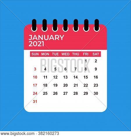January 2021 Calendar. Calendar January 2021. January 2021 Calendar Vector Illustration. Wall Desk C