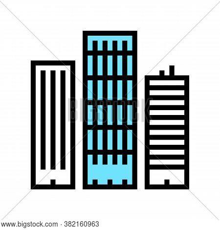 Skyscraper Buildings Color Icon Vector. Skyscraper Buildings Sign. Isolated Symbol Illustration