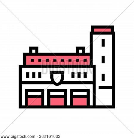 Fire Department Building Color Icon Vector. Fire Department Building Sign. Isolated Symbol Illustrat