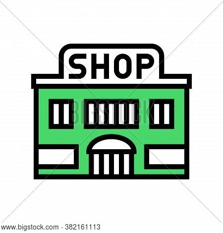 Shop Store Building Color Icon Vector. Shop Store Building Sign. Isolated Symbol Illustration