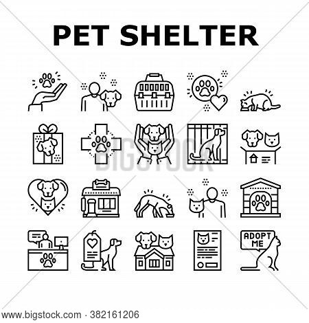 Animal Pet Shelter Collection Icons Set Vector. Pet Shelter Building And Worker, Eating Cat And Dog,