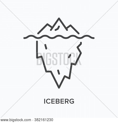 Iceberg Flat Line Icon. Vector Outline Illustration Of Ice Berg With Underwater Mountain. Glacier Th