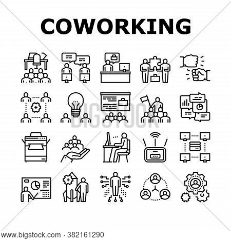 Coworking Service Collection Icons Set Vector. Coworking Working Place And Conference Meeting, Wifi