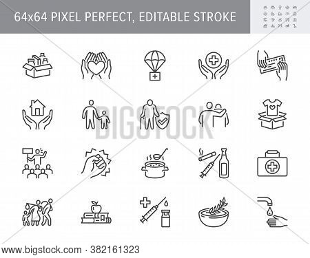Charity, Social Worker Line Icons. Vector Illustration Included Icon As Donate Food, Humanitarian Ai