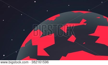 Planet On The Verge Of Extinction. Vector Illustration Of A Planet Earth Globe View In Dark And Red