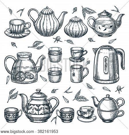 Teapots Tea Cups Vector Sketch Illustration. Ceramic Glass Porcelain Utensil Icons. Kitchenware Isol
