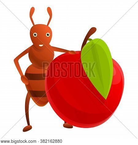 Ant Red Apple Icon. Cartoon Of Ant Red Apple Vector Icon For Web Design Isolated On White Background