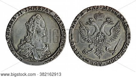 Copy Of The Rare Silver Coin Made For Russian Empress Catherine Ii The Great By Soho Mint, Birmingha