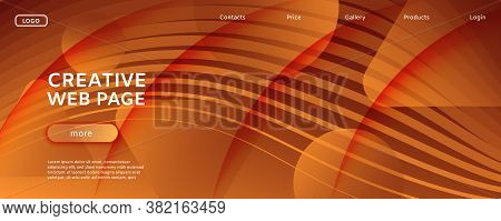Color Fluid Flow. Yellow Geometric Landing Page. 3d Abstract Shape. Business Brochure. Orange Fluid