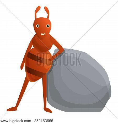 Ant Near Stone Icon. Cartoon Of Ant Near Stone Vector Icon For Web Design Isolated On White Backgrou