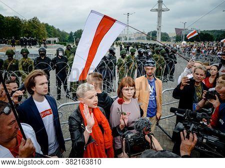 Minsk, Belarus - August 23, 2020: Maria Kalesnikava Calls For Peaceful Protest. Belarusian People Pa