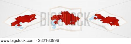 Folded Map Of Kazakhstan In Three Different Versions. Vector Map Of Kazakhstan.